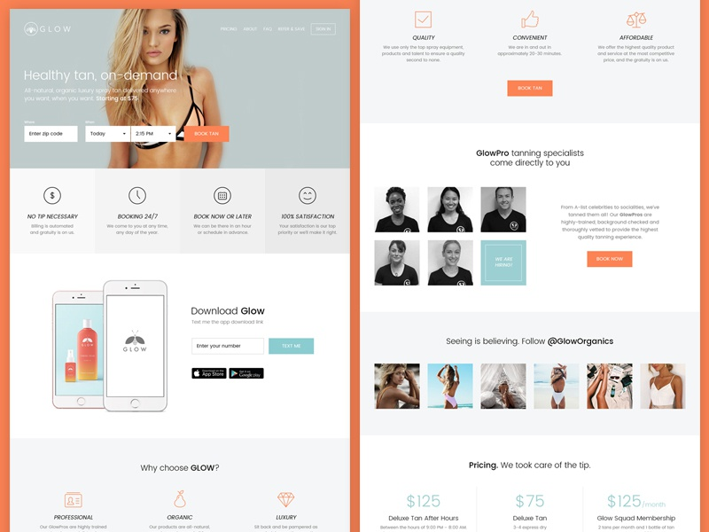 Landing Page menu button visual hierarchy download service product app features form booking cta landing page