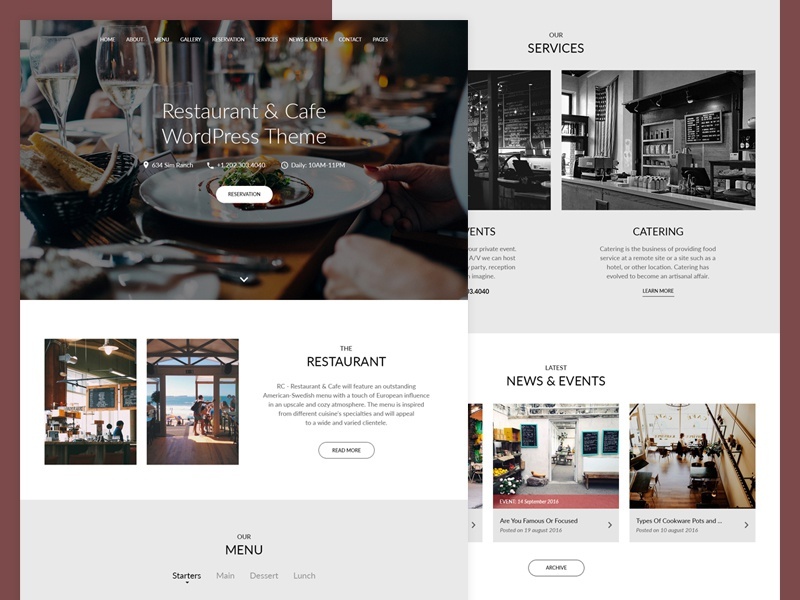 Restaurant WordPress Theme premium wphunters responsive clean modern theme wordpress bar cafe restaurant