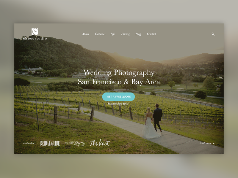 First screen for Photography Website (contest) wedding call to action ux ui first screen typography photographer homepage photography