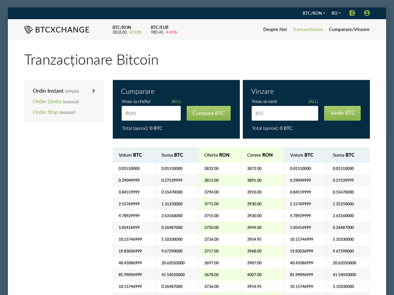 Order Page BtcXchange web service responsive order page order modern calculator table transaction change btc exchange bitcoin