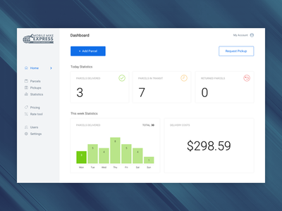 Shipping Dashboard Homepage clean filter search minimal account menu statistic graphs table dashboard delivery shipping