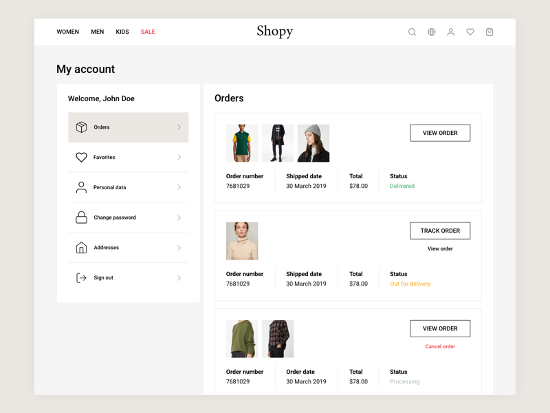 E-Commerce Account Page bootstrap visual hierarchy modern clean minimal menu header shop orders account ecommerce
