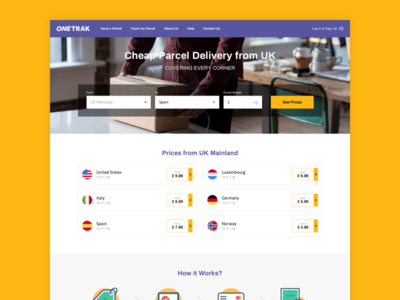 ONETRAK - Landing Page fedex call to action filters homepage wireframe parcel tracking cebanas delivery landing page landing page header how it works prices search form parcel delivery delivery delivery service