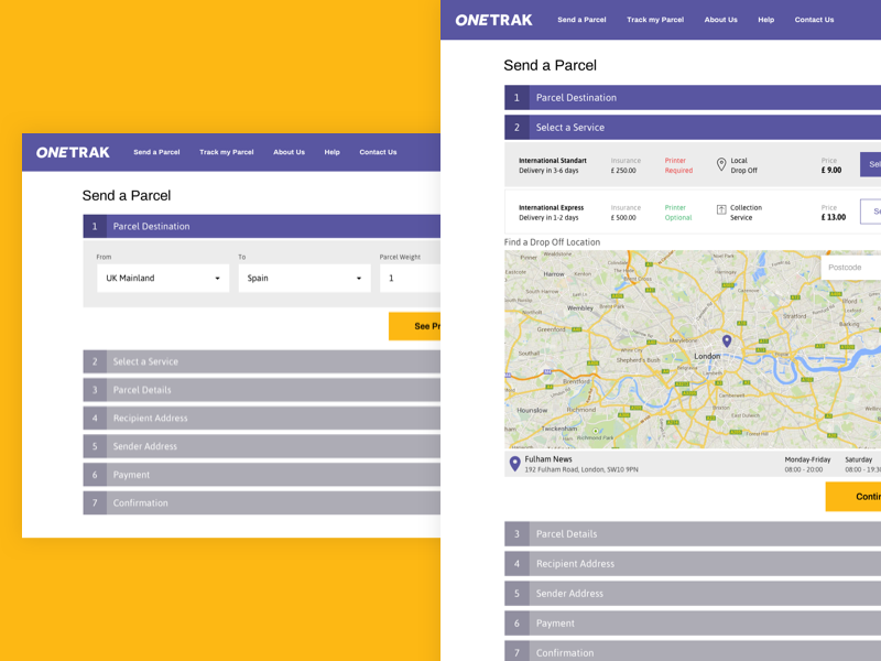 ONETRAK - Send a Parcel fedex cebanas flat modern minimal tracking parcels delivery services payment step parcel details drop off map courier delivery parcel delivery send a parcel