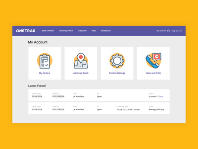 ONETRAK - Client Area clean modern flat minimal client area user area fedex dropdown login form header login profile settings orders delivery service parcels courier parcel delivery orders table user interface user profile account page