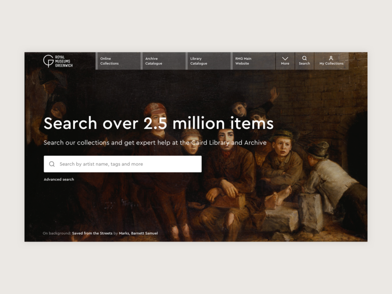 RMG Collections - Homepage Redesign Concept web design visual hierarchy clean minimal concept art menu navigation search homepage museum