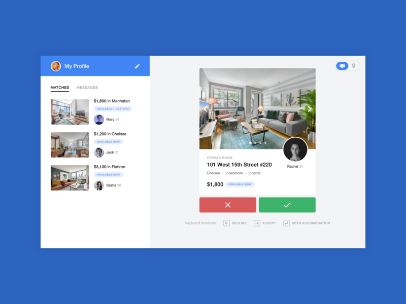 Tinder for finding roommates web app design web design minimal modern design clean ui sidebar property room interface listing roommates tinder