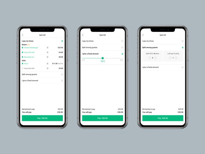 Split Bill ui ux ios design checkout process ios app design food app payment billing bill split bill