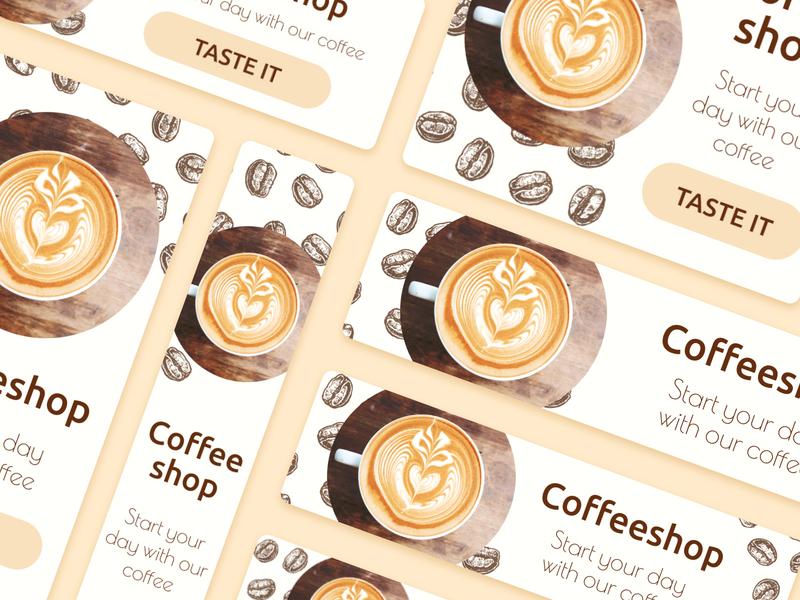 "Banners for Creative Builder ""Viewst"" dribble shot coffee shop coffee branding design dribble banner design banner ads banner"