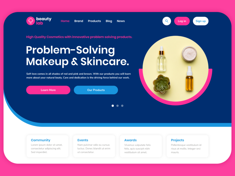 Website concept for a cosmetics company - BeautyLab mainpage figmadesign figma dribbble cosmetic web design beauty concept website design web website branding design