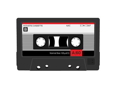 Cassette Tape tech retro vector illustrator tapes cassette 80s