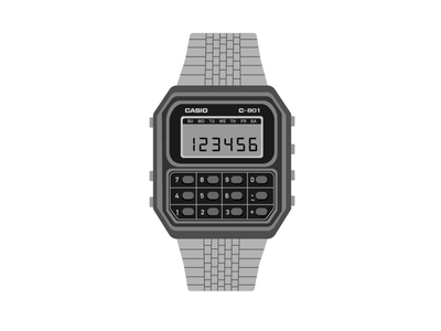 Casio C801 c801 vector art vector retro watch calculator casio