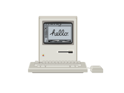 Macintosh 128k classic retro 80s vector vector art apple mac 128k macintosh