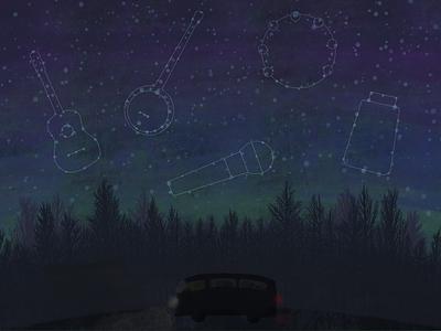 JamgrassTV - Constellations social poster sky night forest constellations stars music illustration vw bus procreate ipad