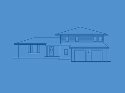 Grandpa's House illustration vector simple house architecture blue flat line