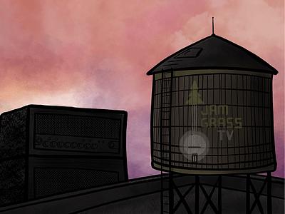 JamgrassTV - Graffiti concert sunset sunrise amp water tower social poster gig music illustration procreate ipad