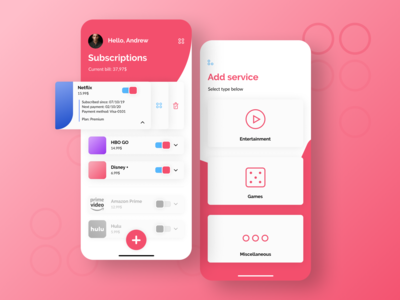 Subscription Management App Design