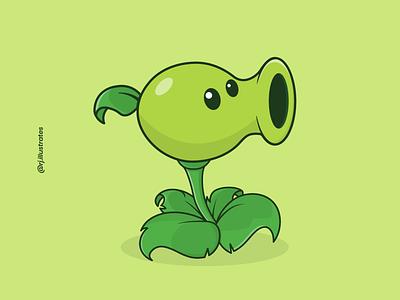 Peashooter cartoon illustration vectorart graphicdesign artwork flat illustration peas peashooter gaming game art adobe illustrator design green plants characterdesign character illustration vector