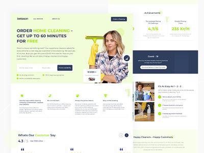 Landing Page Home Cleaning Service 🏡 webdesign web startup landing page landingpage landing page design website design ux design inspiration awesome design uiux design app ui design ui