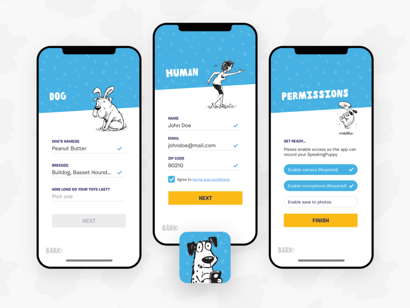 Say Bark! - Onboarding mobile product doodles animals say bark filters dogs ux ui interface sign in app ios onboarding