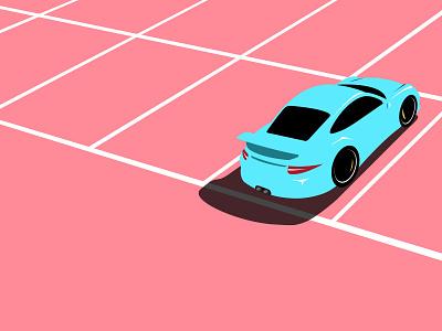 Porsche 911 GT3 parking lot parking porsche cars illustration