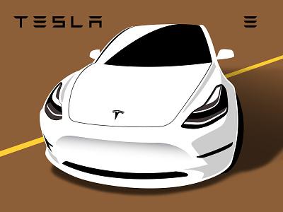 Tesla model 3 model 3 illustration vector white car tesla
