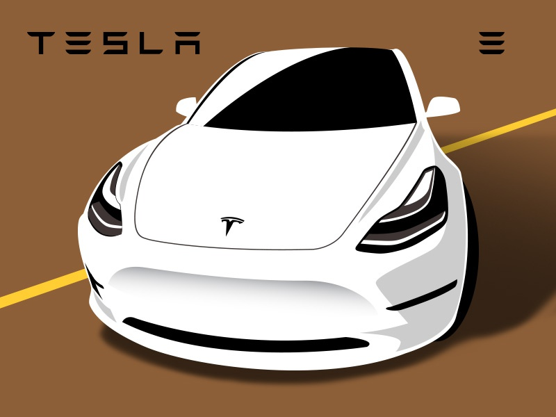 Tesla model 3 model 3 illustration vector white car tesla