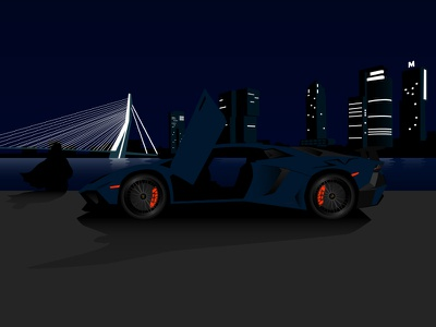 Illustration of a Lamborghini Aventador SV in Rotterdam at night rotterdam sv aventador lamborghini illustrator adobe