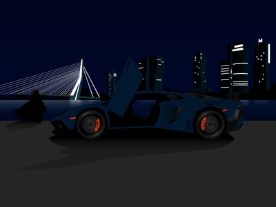 Illustration of a Lamborghini Aventador SV in Rotterdam at night