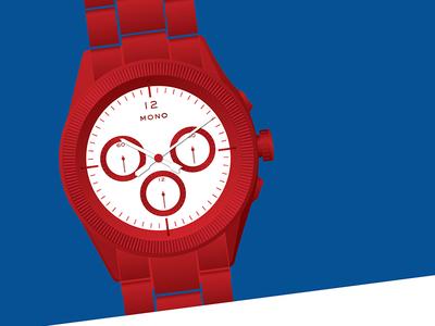 MONO Watch Illustration blue red illustration watch