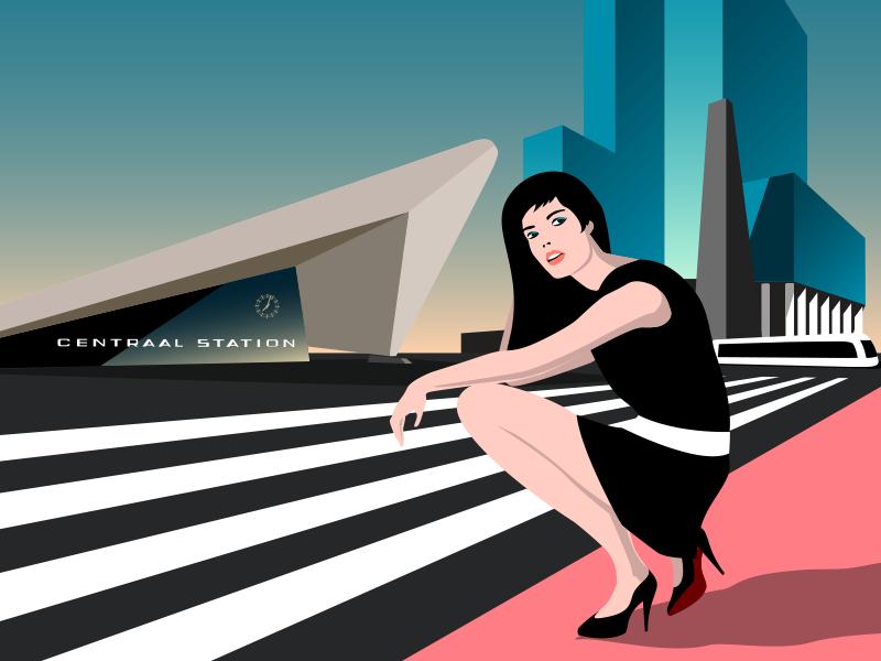 Rotterdam Central Station Illustration louboutin model fashion illustration rotterdam