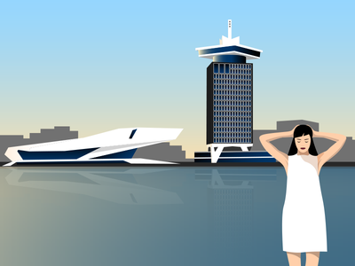 Amsterdam-Noord magic hour Illustration illustrator adobe vector illustration amsterdam eye