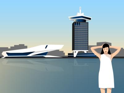 Amsterdam-Noord magic hour Illustration illustrator adobe vector illustration amsterdam eye