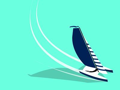 Catamaran minimalist illustration vector catamaran