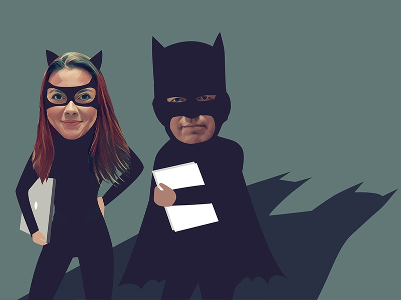 Batman and Catwoman quote vector illustration