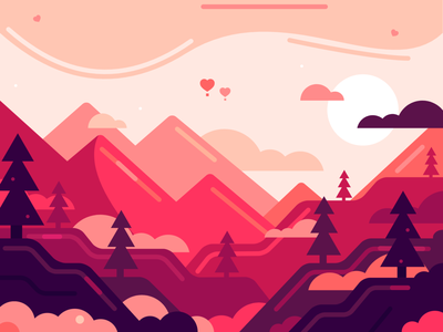 velvetia red detail illustration landscape pink graphic design color vector design
