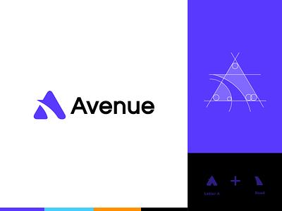 avenue logo a typography branding logo blue minimal graphic design color vector design