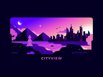 Cityview sunset vector design color city landscape illustration ill graphic design