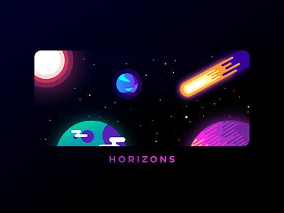 Horizons detail minimal comet planet illustration graphic design color vector design
