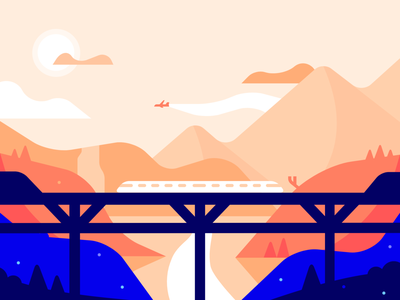 monorail illustrator blue orange landscape illustration minimal graphic design color vector design