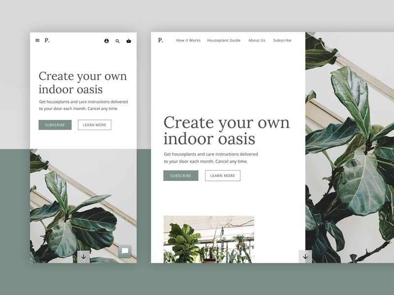 Houseplant Subscription Web Design - Mobile