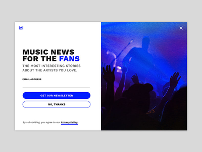 Daily UI 001 - Music Newsletter Sign Up Modal