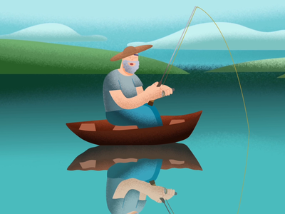 Sleeping by the fishes nature digital art chela.illustrates sleeping man grain texture noise shadow fishing lake water boat fisherman vector art vector illustration illustration illustrator motion graphics 2d animation animation
