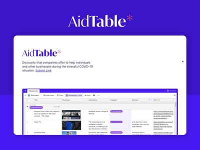 AidTable - Discounts During COVID19 clean minimal motion graphics motion gif animation side project table discounts covid19