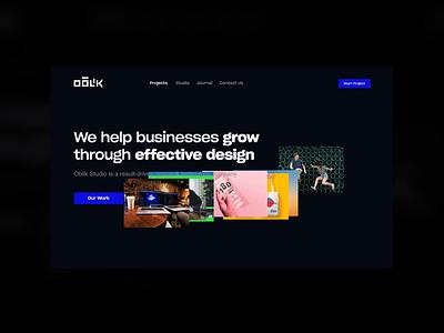 Oblik Studio — Projects Page project dark theme ui dark theme dark header motion graphics prototype header agency design agency portfolio website studio portfolio