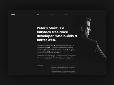 Kobalt - About me development theme dark cv profile about personal portfolio kirbycms kirby