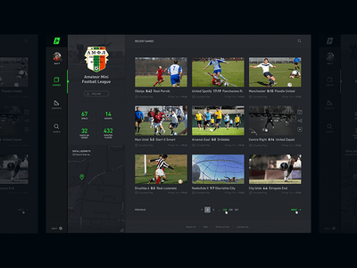 Video List ⚽️ league profile black dark sidebar streaming sports soccer football hd video