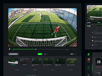 Video Player statistics video football soccer sports streaming sidebar dark black profile player ⚽️
