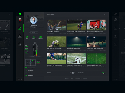 Profile video hd football soccer sports streaming sidebar dark black profile league ⚽️