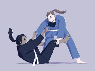Ju jitsu 1 strong woman woman portrait posing procreate ipad drawing illustration character character design combat ju jitsu